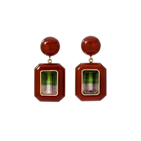 One of a Kind Bi-color Tourmaline and Carnelian Earrings