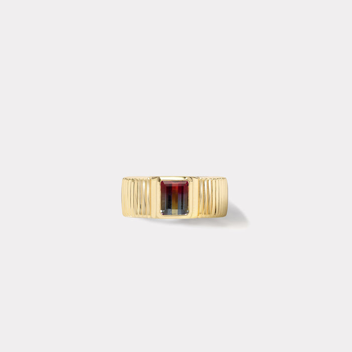 One of a kind Pleated Solitaire Band - Bicolor Tourmaline
