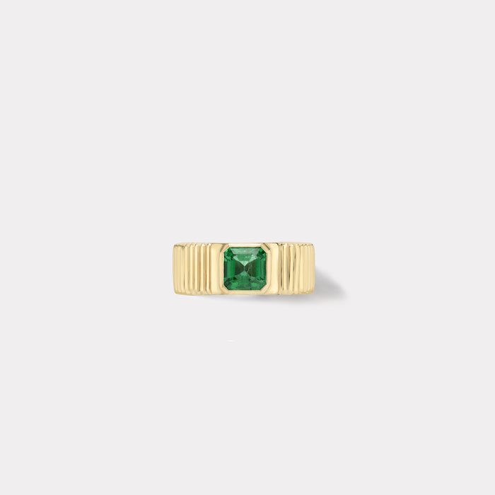 One of a kind Pleated Solitaire Band - Emerald