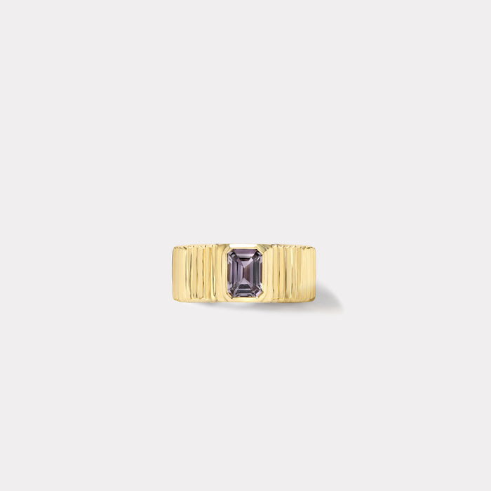 One of a kind Pleated Solitaire Band - Violet Sapphire