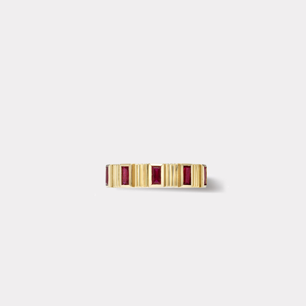 Pleated Five Stone Band - Baguette Cut Rubies