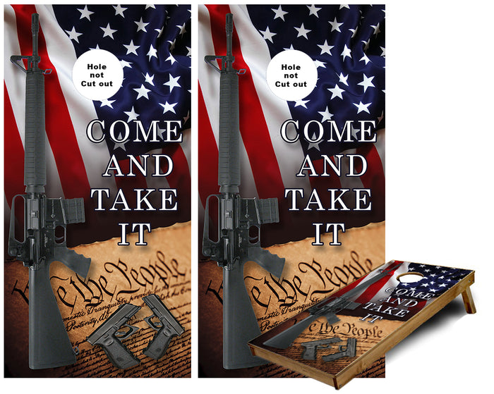 United States of America 2nd Admendment Come and Take it Cornhole Wraps