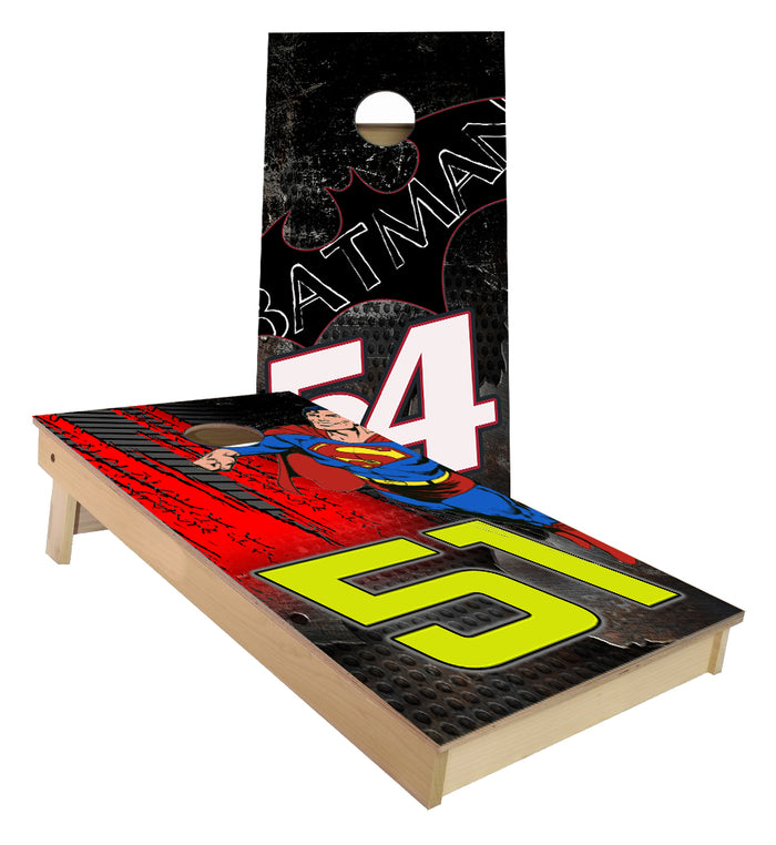 Number 51 and 54 Racing Batman vs Superman Cornhole Boards
