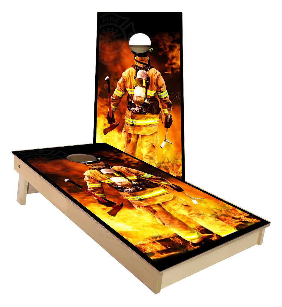 Firefighter flames Cornhole Boards