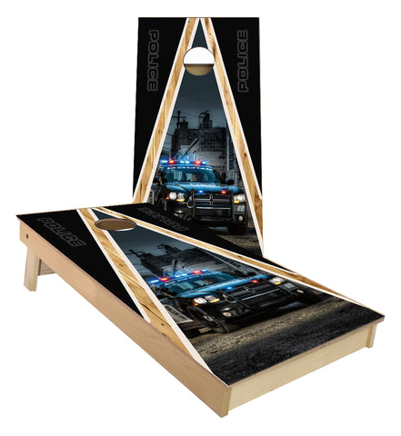 Police Car Triangle Wood Cornhole Boards