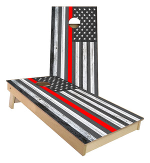 Support your Fire Fighters Thin Red Line US FLAG Cornhole Boards
