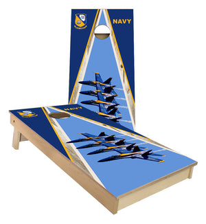 Blue Angels Navy F-18 cornhole board set