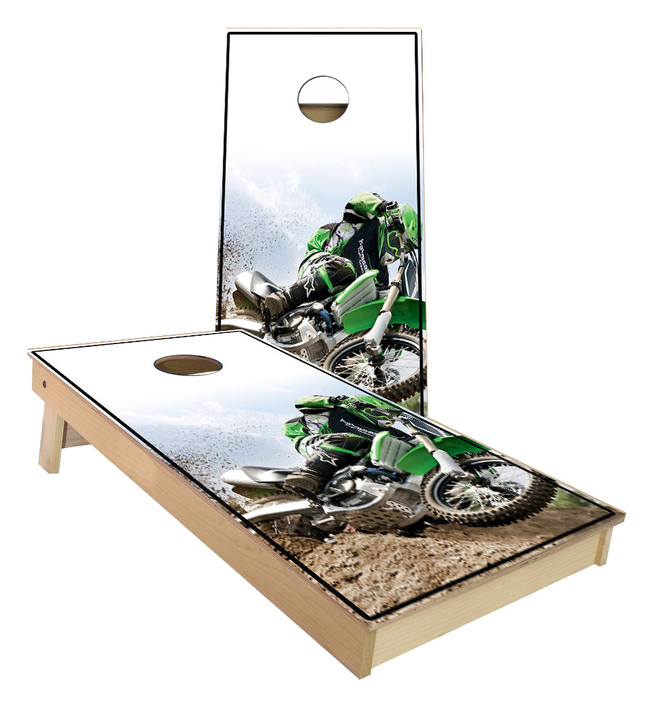 Kawasaki Dirt bike racing cornhole boards