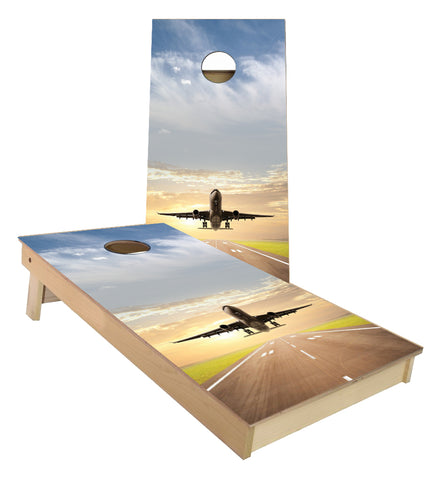 Jet Airliner taking off from Runway cornhole boards