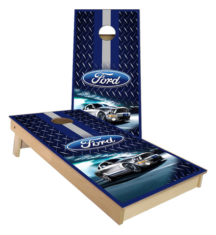 Ford Mustang racing stripes cornhole boards