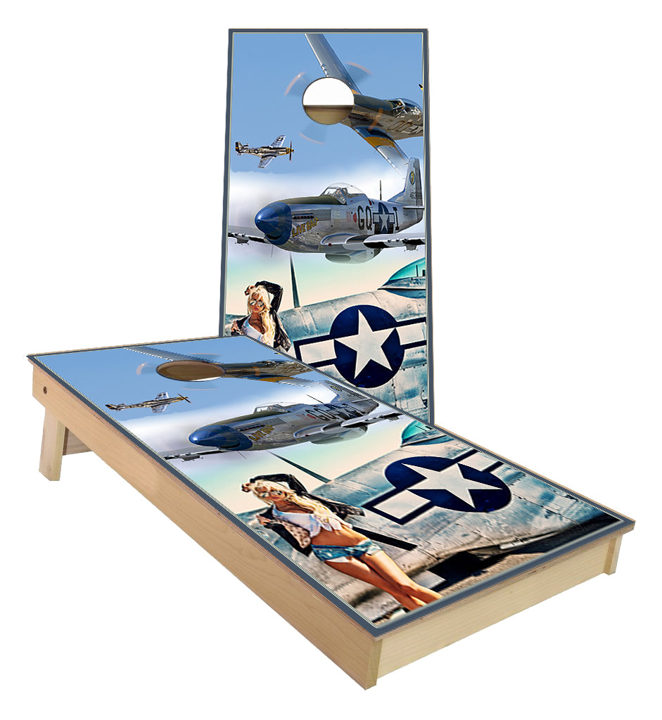 P-51 Mustang Fighter Plane Pin UP Girl cornhole boards