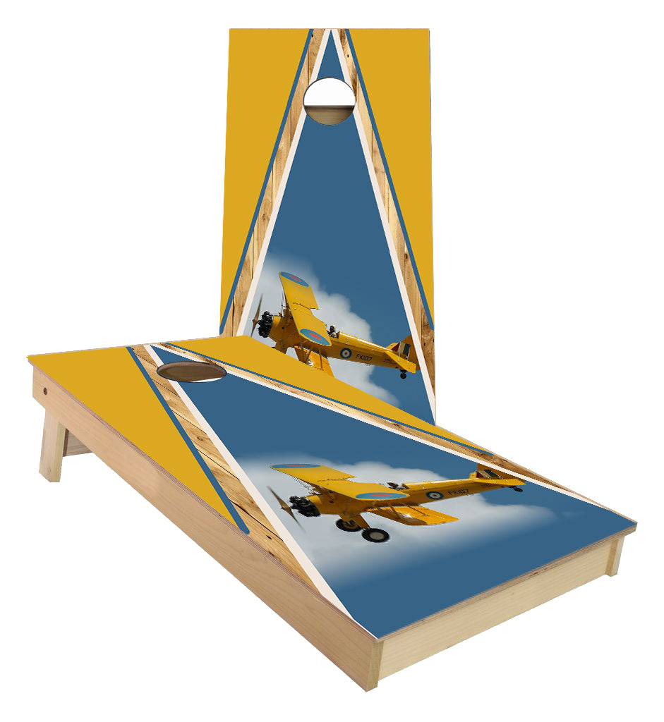 Bi-Plane flying in clouds cornhole boards