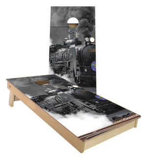 Coal Train locomotive cornhole boards