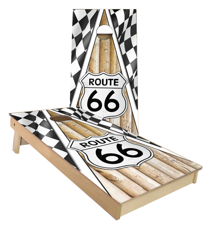 Route 66 Checkered Flag Cornhole Boards