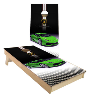 Lime Green Lamborgini Car Cornhole Boards