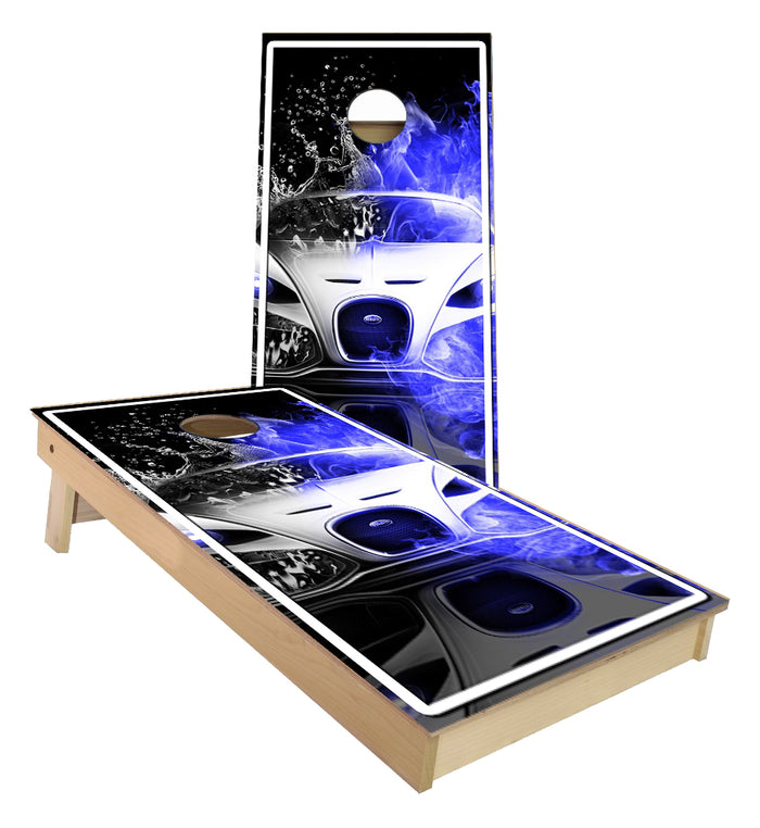 Bugatti Fire and Water Car Cornhole Boards