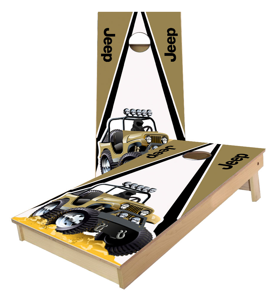 Jeep on Traditional Triangle Design Cornhole Boards