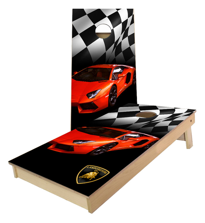 Orange Lamborgini Checkered Flag Cornhole Boards
