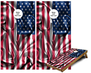USA Flag of the United States of America Cornhole Boards waving Cornhole Wraps
