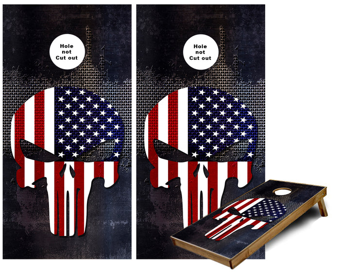 Punisher American Flag Metal Cornhole Wraps