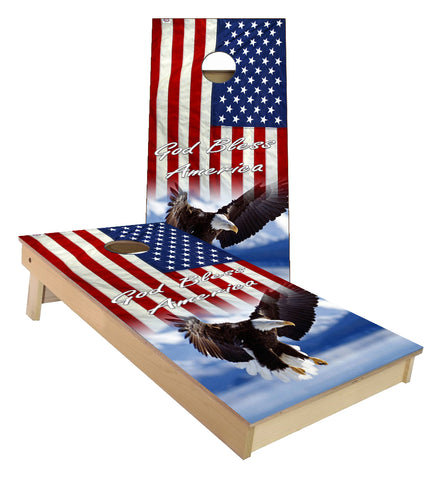 United States Flag Bald Eagle God Bless America Cornhole Boards