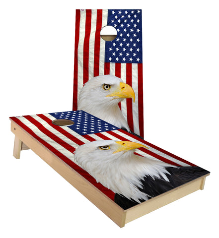 United States Flag Bald Eagle Cornhole Boards