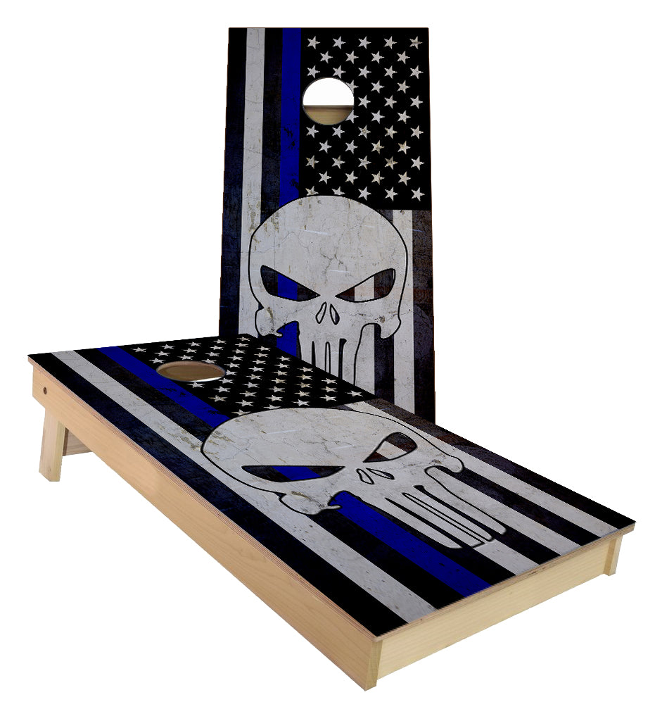 Punisher Blue Line Flag Cornhole Boards