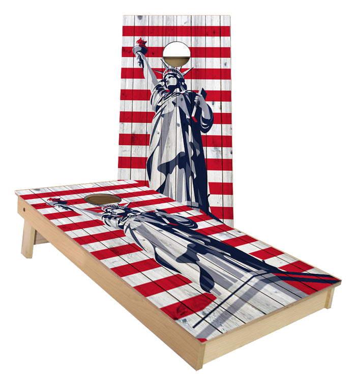Statue of Liberty American Flag Stripes custom cornhole boards