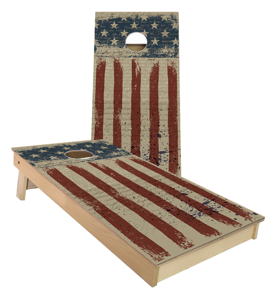 Grunge US Flag cornhole boards
