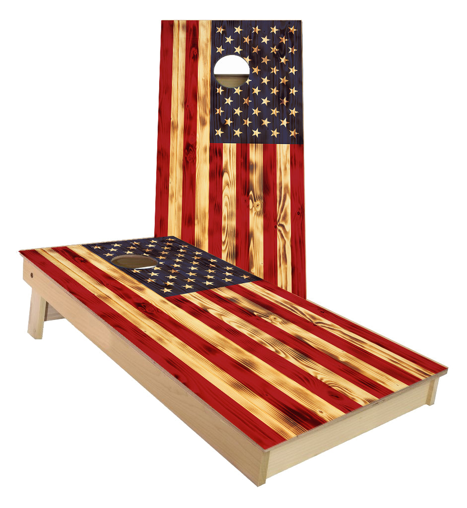 USA Rustic Burnt Flag Cornhole Boards