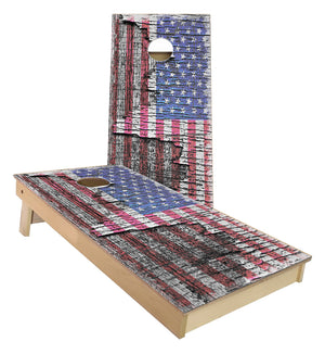 US Flag on Wood Tree Bark Cornhole Boards