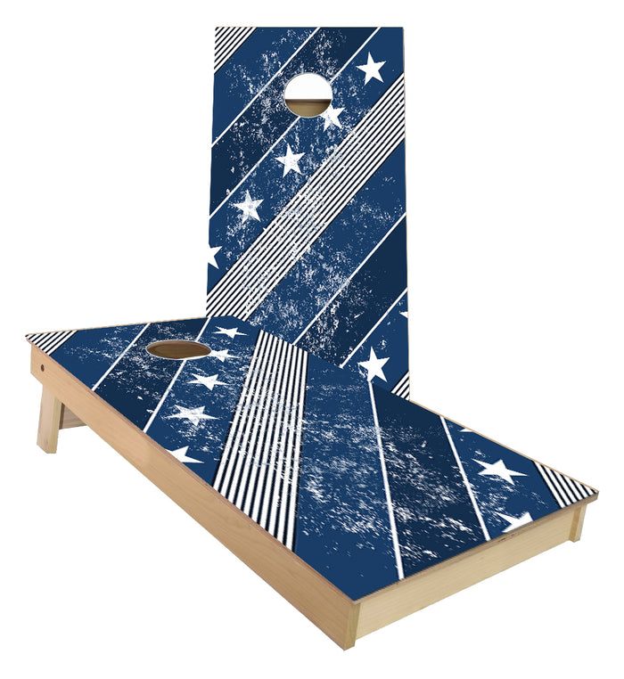 Stars and Stripes blue and White Cornhole Boards