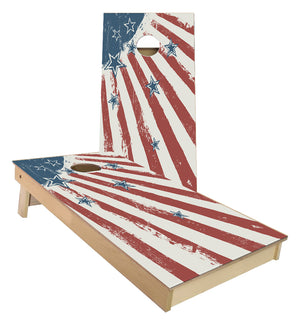 Grunge Stars and Stripes Red White and Blue Cornhole Boards