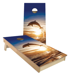 Dolphins jumping Cornhole Boards