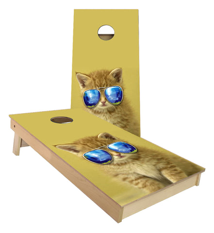Kitty Cat with Aviator Glasses Cornhole Boards