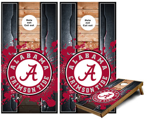 Alabama Crimson Tide Metal edges wood look cornhole Wraps