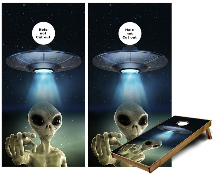 Alien beemed from UFO in outer space Cornhole Wraps