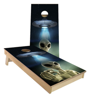 Alien beemed down from UFO outer space cornhole boards