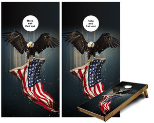 American Eagle US Flag Cornhole Wraps