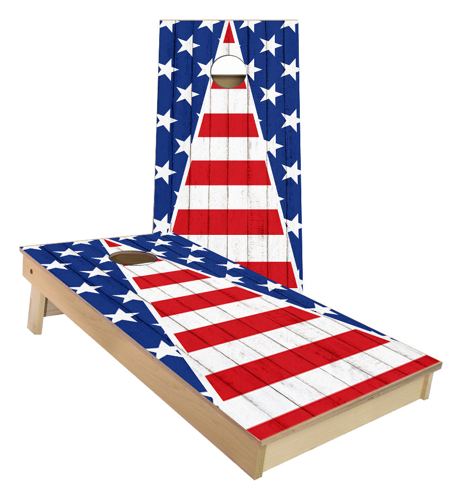 American Flag weathered triangle theme Stars and Stripes cornhole boards