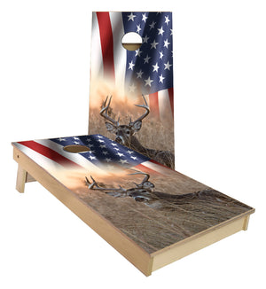 American Flag Whitetail Buck Sunset cornhole boards