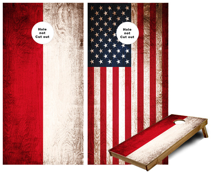 American and Poland Flag Weathered wood paint Cornhole Wraps