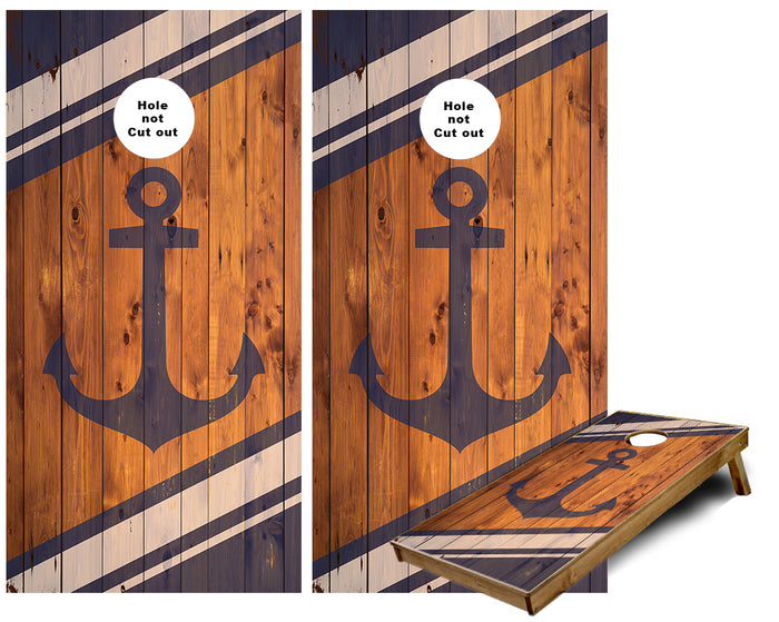 Anchor on rustic wood Cornhole Wraps