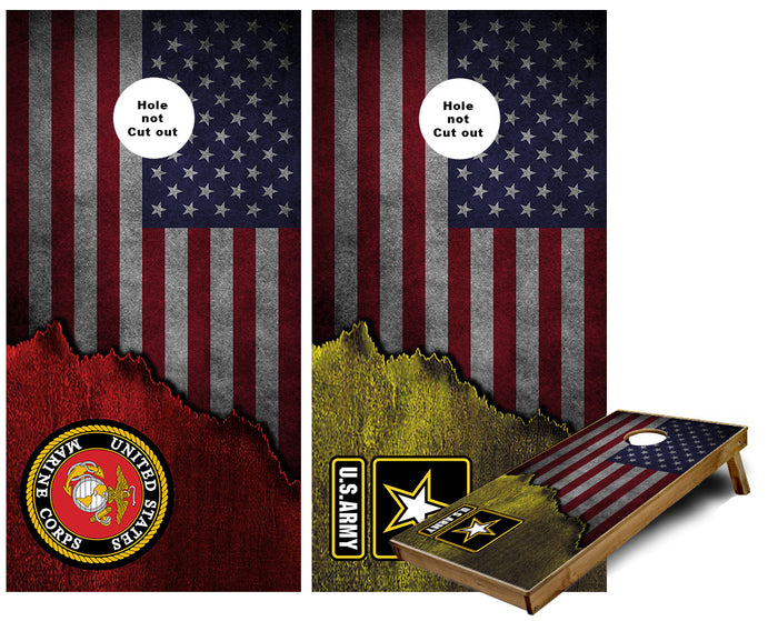 Marines and Army metal US Flag Cornhole Wraps