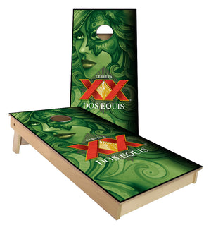 Dos Equis beer Goddess cornhole boards