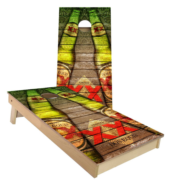 Dos Equis Beer Bottle vintage wood look cornhole boards