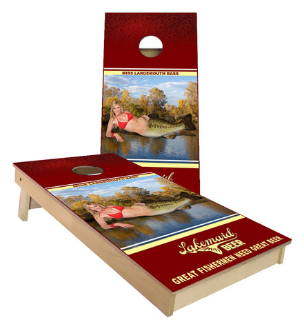 Lake Maid Beer Bass Cornhole Boards