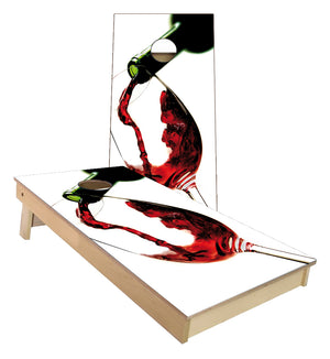 Red Wine Pouring in Glass Cornhole Boards