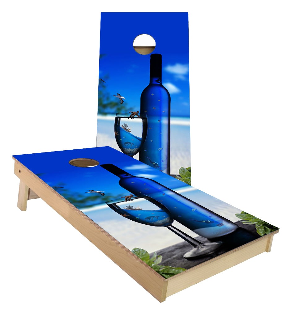 Blue Vodka Bottle on the Beach Cornhole Boards