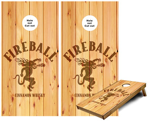 Fireball Whiskey on Wood Cornhole Wraps